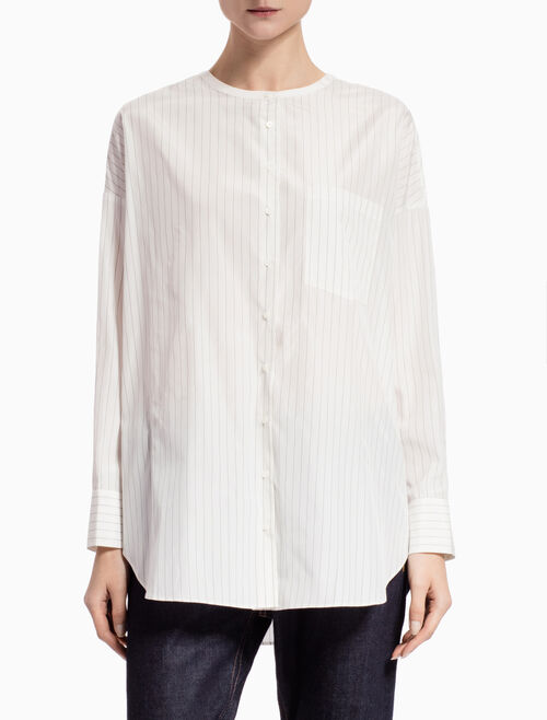 CALVIN KLEIN SILK PINSTRIPED SHIRT