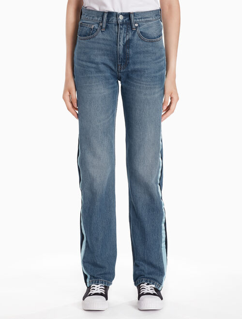 CALVIN KLEIN CKJ 030 WOMEN HIGH RISE STRAIGHT JEANS WITH STRIPES
