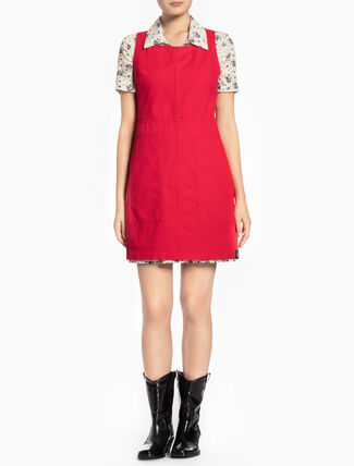 CALVIN KLEIN DEMETRIA RIGID TWILL SLEEVELESS DRESS