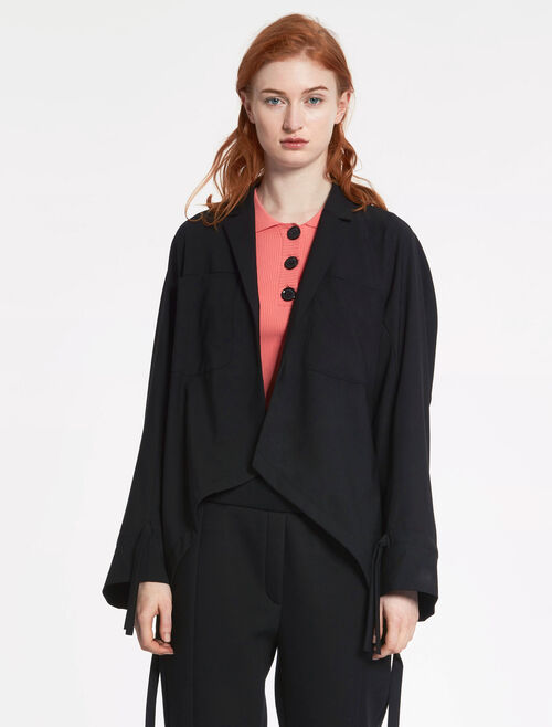 CALVIN KLEIN TROPICAL WOOL RUCHED JACKET