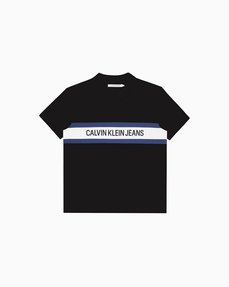 CALVIN KLEIN INSTITUTIONAL STRIPE LOGO POLO SHIRT
