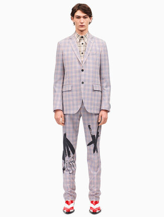 CALVIN KLEIN knives slim pants in check worsted wool