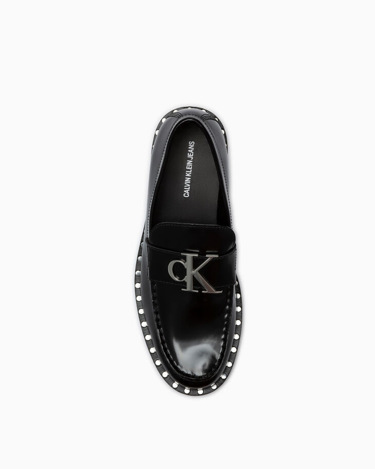 CALVIN KLEIN STUDDED LEATHER LOAFERS