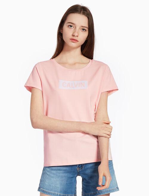 CALVIN KLEIN SATIN LOGO KNIT 티셔츠