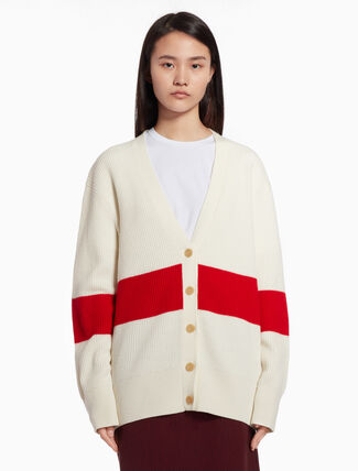 CALVIN KLEIN Color block knit cardigan