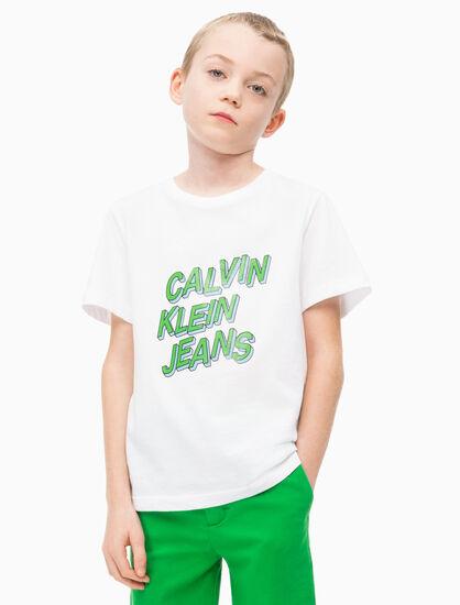 CALVIN KLEIN 남아용 3D로고 크루 티셔츠