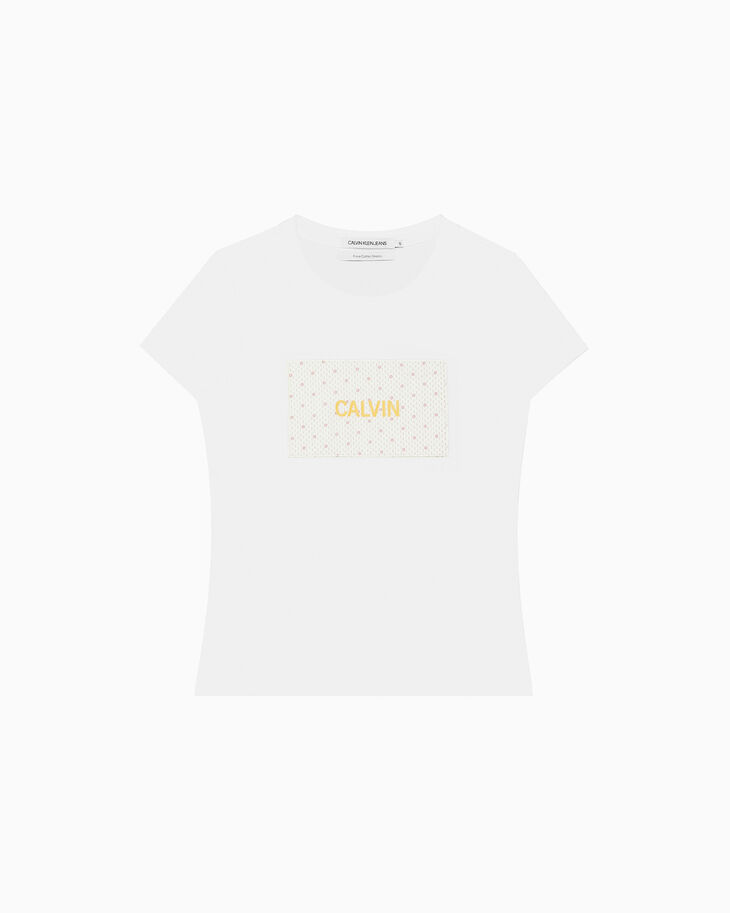 CALVIN KLEIN PATTERNED LOGO BOX PATCH TEE