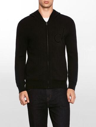 CALVIN KLEIN ロゴ ジップフード付きセーター
