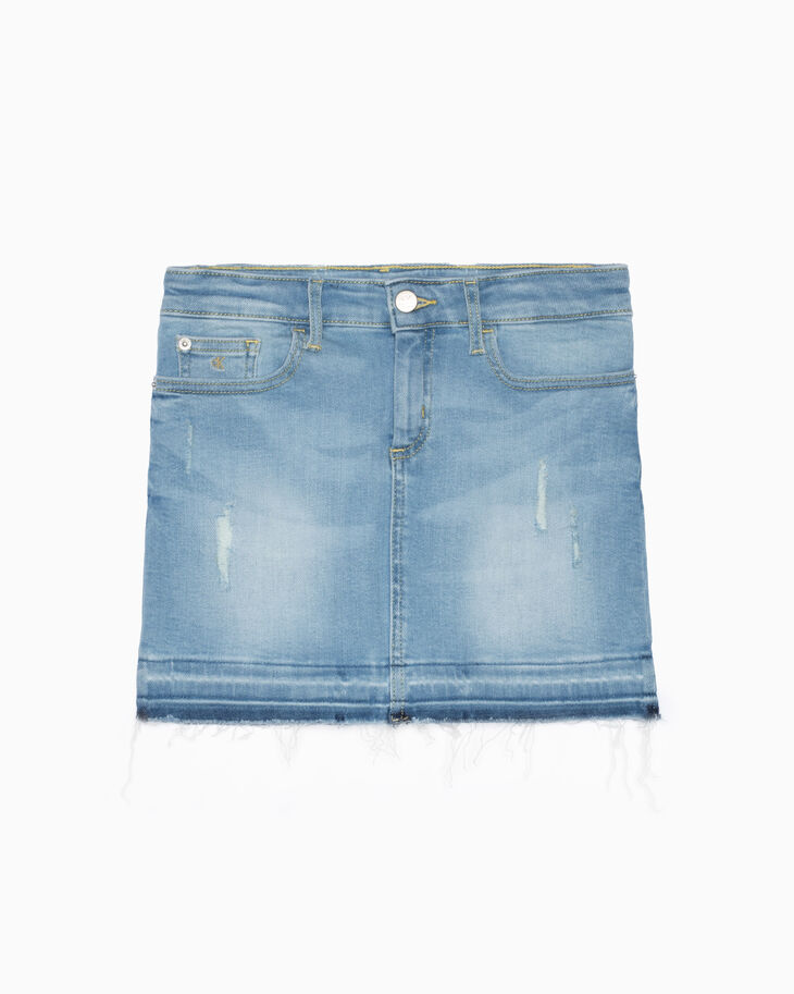 CALVIN KLEIN GIRLS DESTRUCTED DENIM SKIRT