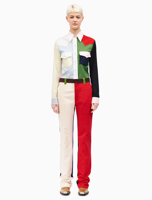 CALVIN KLEIN straight leg colorblock pants