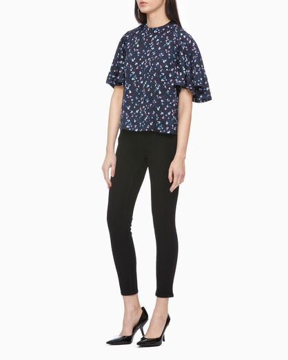CALVIN KLEIN ALL OVER PRINT FLARED SLEEVE TOP