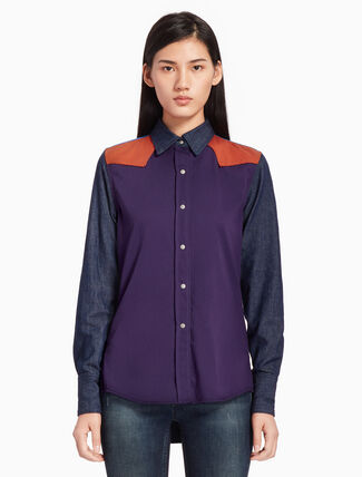 CALVIN KLEIN COLOR BLOCK WESTERN LEAN SHIRT