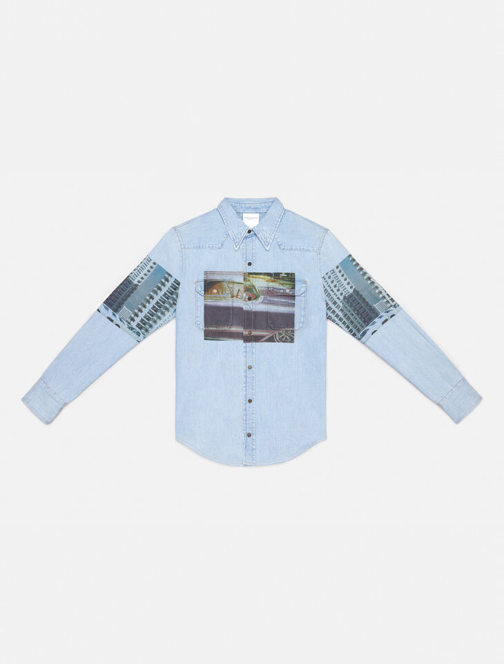 CALVIN KLEIN BLUE GRAPHIC WESTERN SHIRT