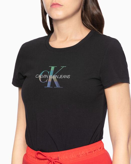 CALVIN KLEIN 메탈릭 모노그램 로고 티셔츠