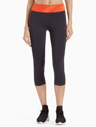 CALVIN KLEIN LOGO CROPPED LEGGINGS WITH MESH INSERTS