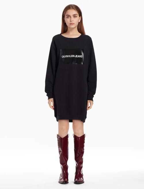 CALVIN KLEIN INSTITUTIONAL LOGO SWEAT DRESS