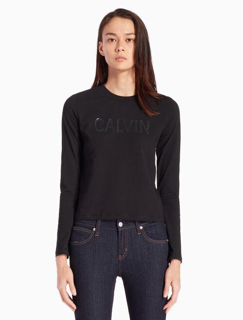 CALVIN KLEIN SHINY CALVIN LOGO 긴소매 티셔츠