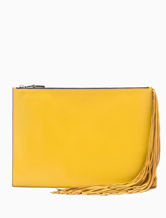 CALVIN KLEIN LENGTH EXPANDABLE FLAT POUCH WITH FRINGES