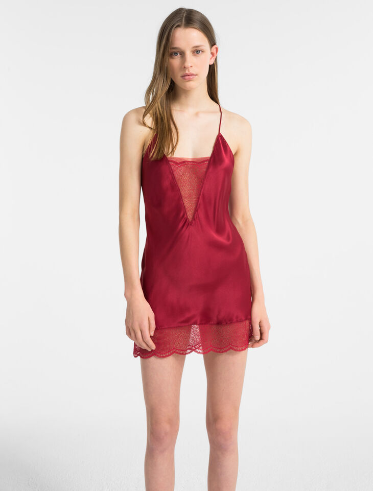 CALVIN KLEIN SILK CHEMISE WITH LACE