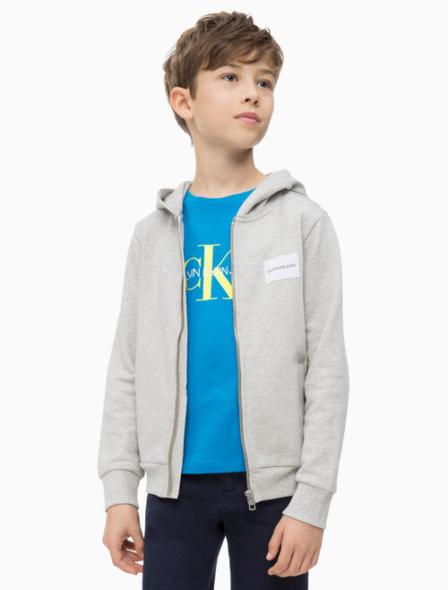 CALVIN KLEIN BOYS LOGO TERRY ZIP THROUGH HOODIE