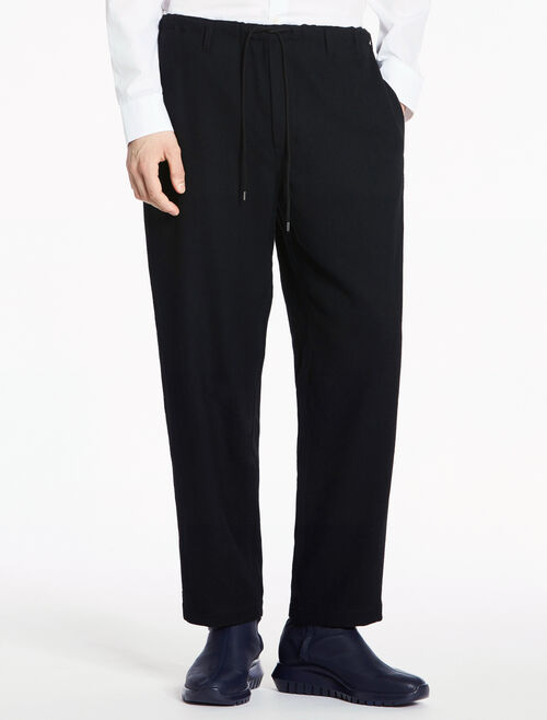 CALVIN KLEIN TUCKED WOOL DROP CROTCH PANTS