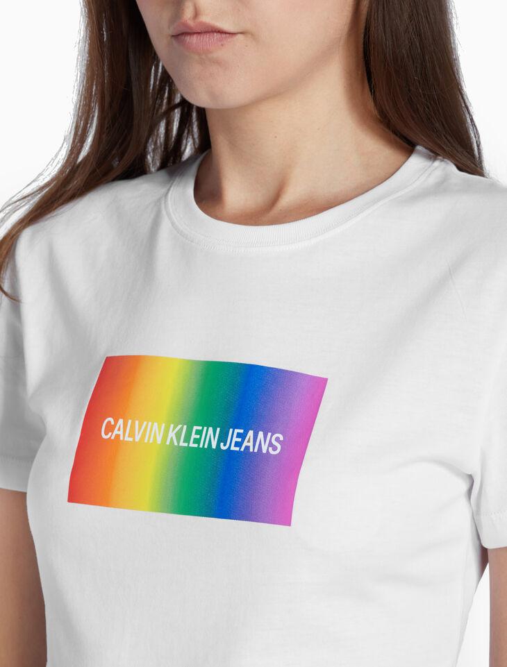 CALVIN KLEIN SLIM RAINBOW LOGO 티셔츠