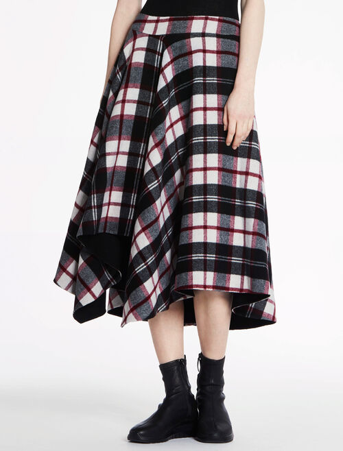 CALVIN KLEIN WOOL PLAID DOUBLE FACE LONG SKIRT - HAND-STITCH