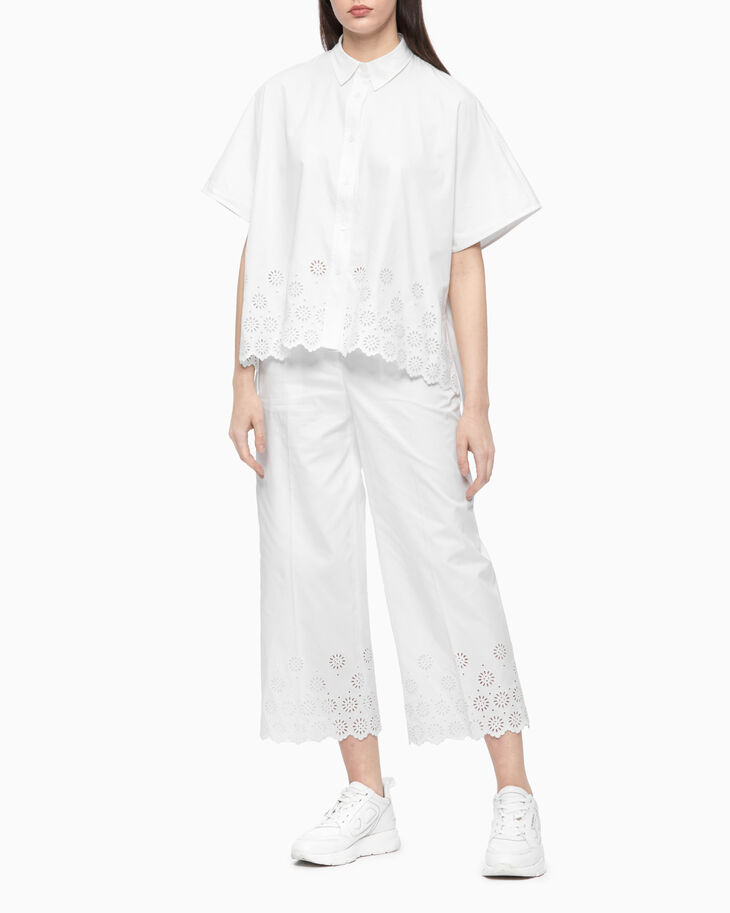 CALVIN KLEIN BORDERED ANGLAISE WIDE LEG PANTS