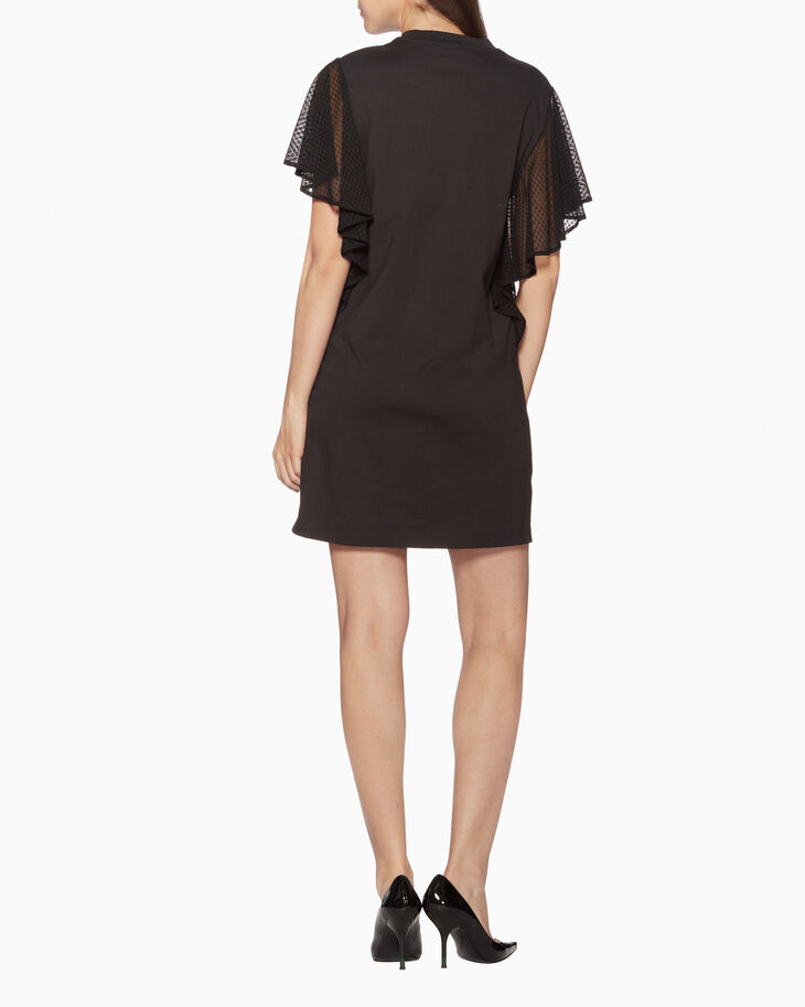 CALVIN KLEIN JERSEY DRESS WITH LACE DRAPE