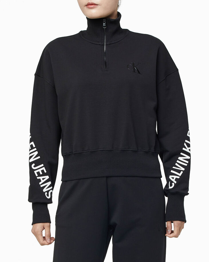 CALVIN KLEIN STRETCH INNOVATION MOCK NECK HALF ZIP HOODIE