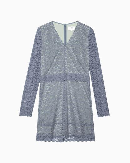 CALVIN KLEIN 바이컬러 레이스 드레스