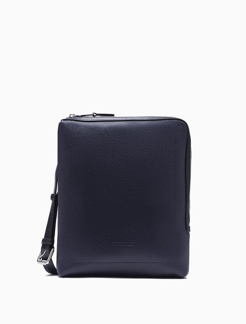 CALVIN KLEIN LEATHER FLAT CROSSBODY BAG