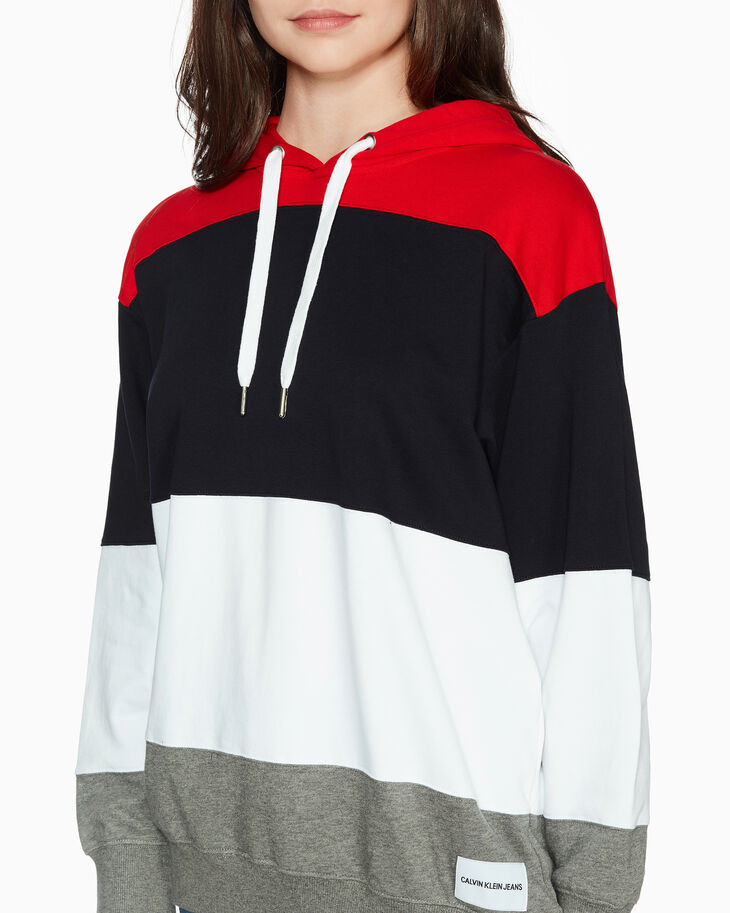 CALVIN KLEIN COLOR BLOCK HOODED SWEATSHIRT