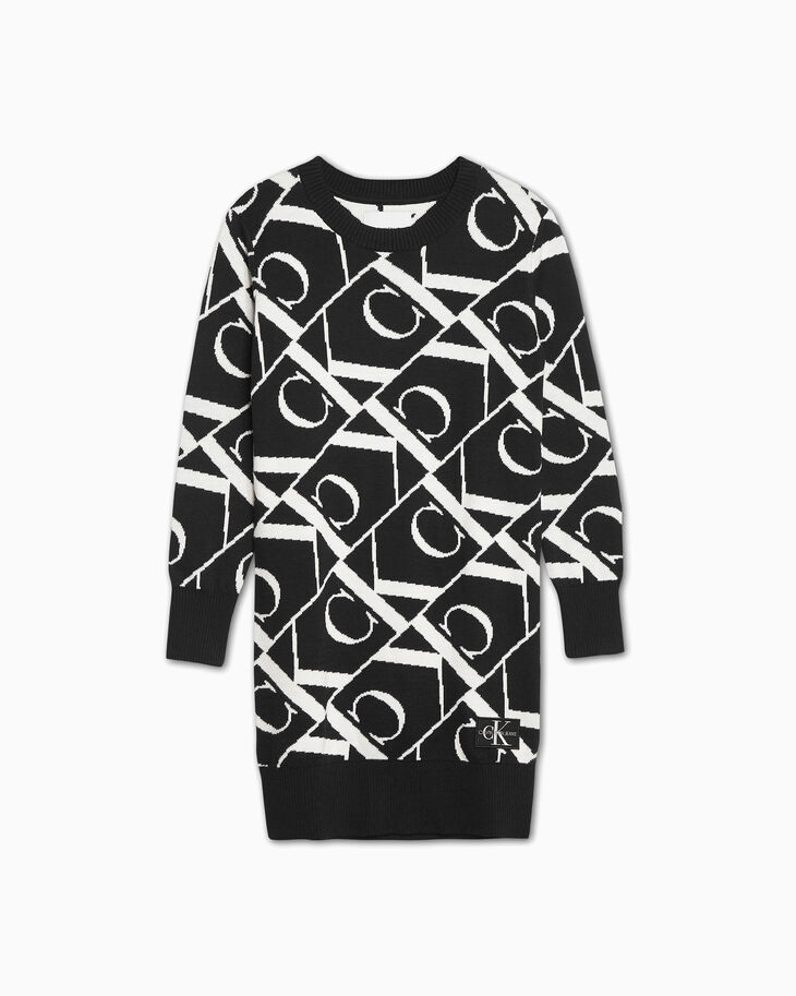 CALVIN KLEIN GIRLS' MONOGRAM KNIT DRESS