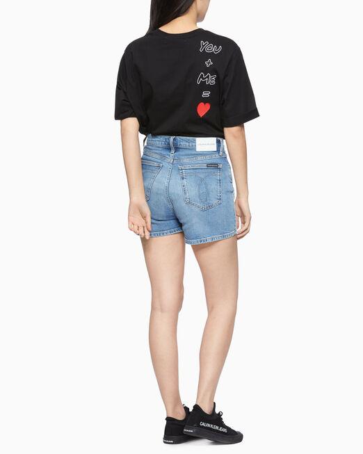 CALVIN KLEIN 여성 라인스톤 롤 업 반팔 티셔츠