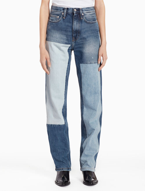 CALVIN KLEIN CKJ 030 WOMEN HIGH STRAIGHT PATCHWORK JEANS