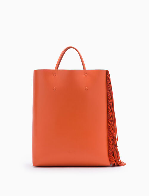 CALVIN KLEIN ENVELOPED TOTE BAG WITH FRINGES
