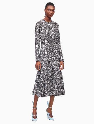 CALVIN KLEIN daisy silk twill long sleeve dress