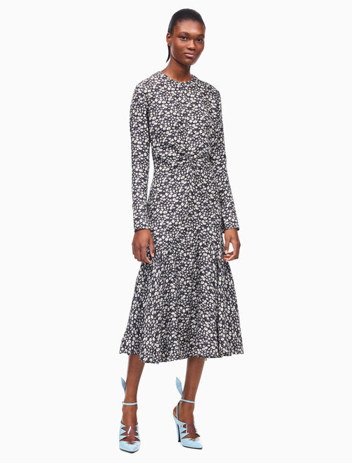 CALVIN KLEIN daisy silk twill long sleeve dress
