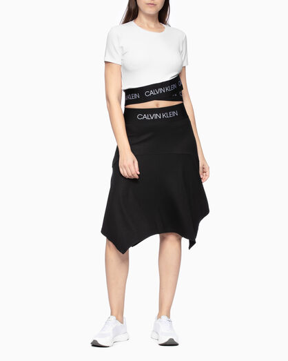 CALVIN KLEIN ACTIVE ICON CROPPED WRAP-OVER HEM 티셔츠