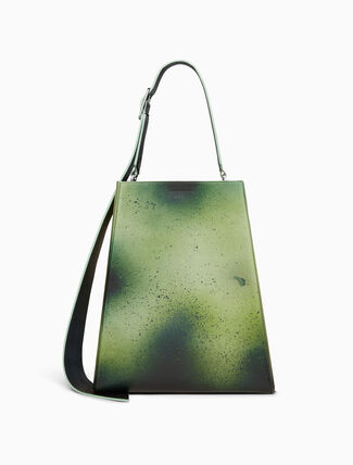 CALVIN KLEIN large distressed leather bucket bag