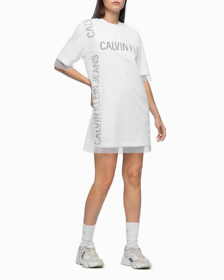 CALVIN KLEIN DOUBLE LAYER LOGO T-SHIRT DRESS