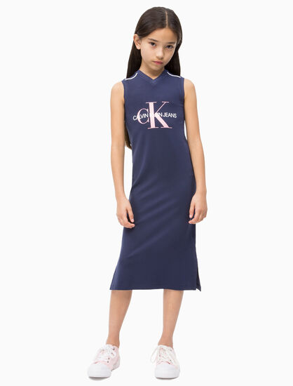 CALVIN KLEIN GIRLS MONOGRAM JERSEY MIDI DRESS