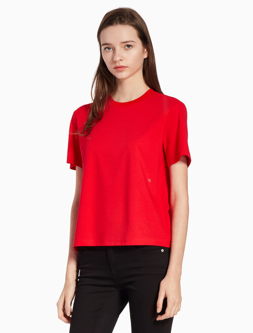 CALVIN KLEIN EMBROIDERED LOGO KNIT TOP