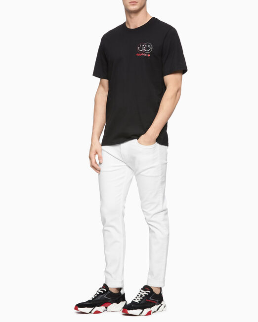 CALVIN KLEIN 남성 라인스톤 레귤러핏 피마 반팔 티셔츠