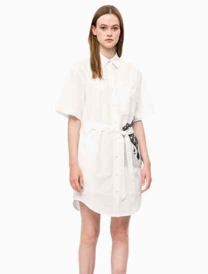 CALVIN KLEIN LOGO FLAG SHIRT DRESS