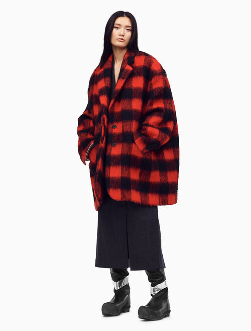 CALVIN KLEIN OVERSIZED SINGLE-BREASTED COAT IN BUFFALO CHECK