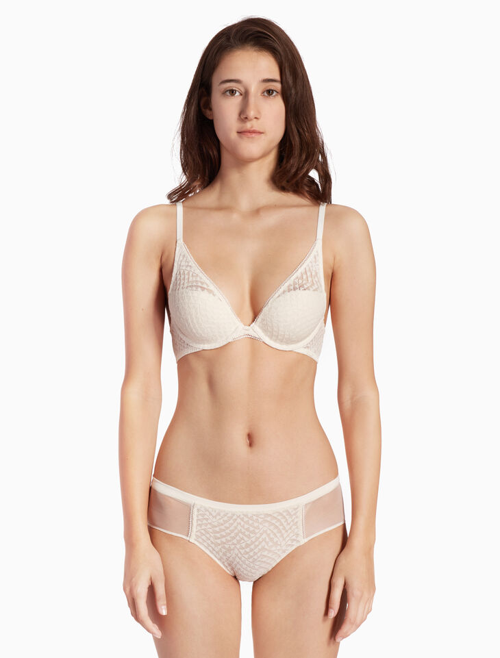CALVIN KLEIN PERFECTLY FIT GEO LACE 플런지 브라