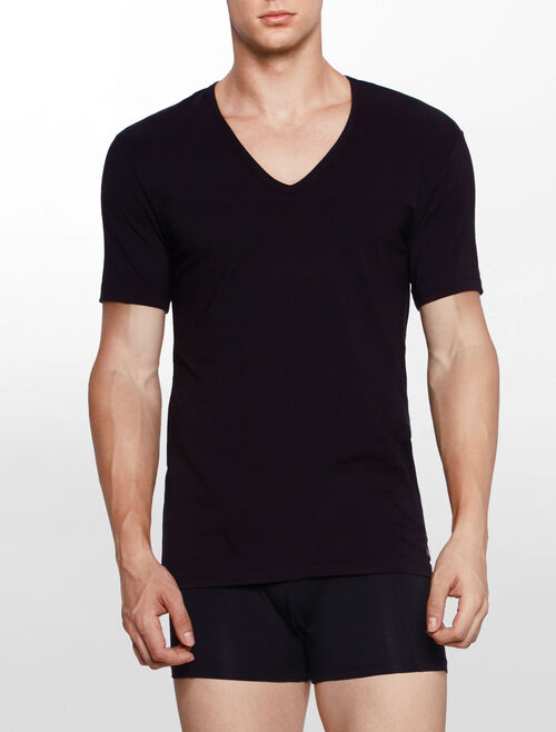 CALVIN KLEIN CK BLACK COTTON Short Sleeves V NECK TEE