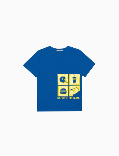 CALVIN KLEIN 남아용 펀 아이콘 크루 티셔츠
